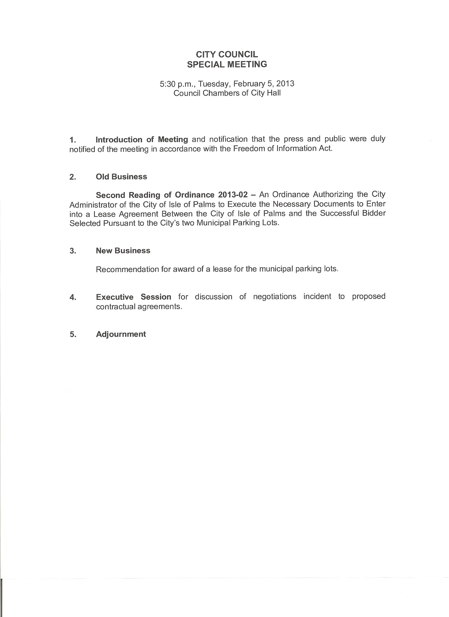 Special Council Meeting on Parking Lot Lease Agreement Bids – Parking Lease Template