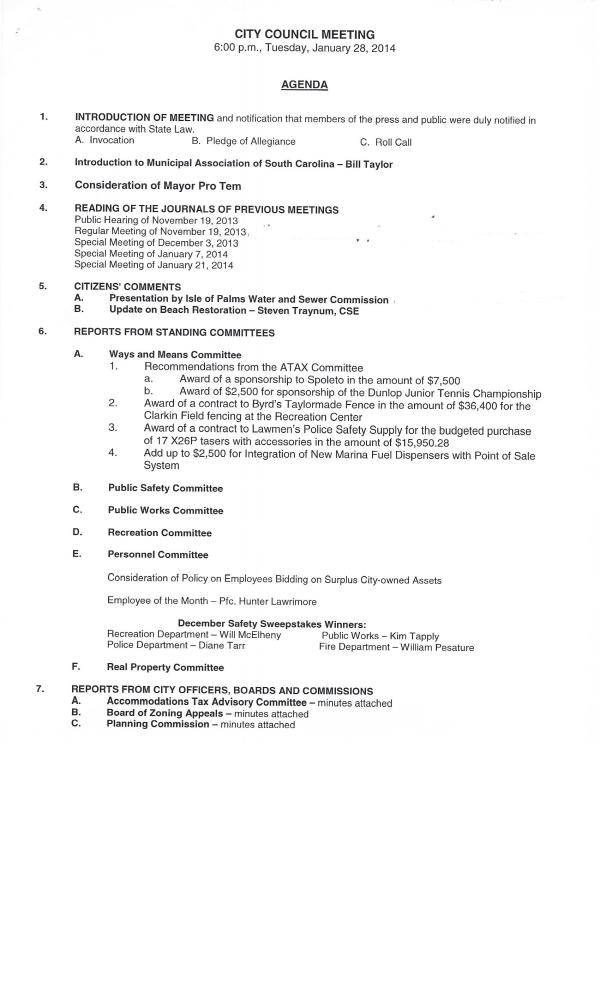 IOP council agenda Jan 28 2014