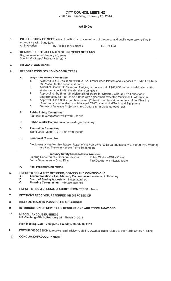 IOP Council Agenda #2 for 2-25-14