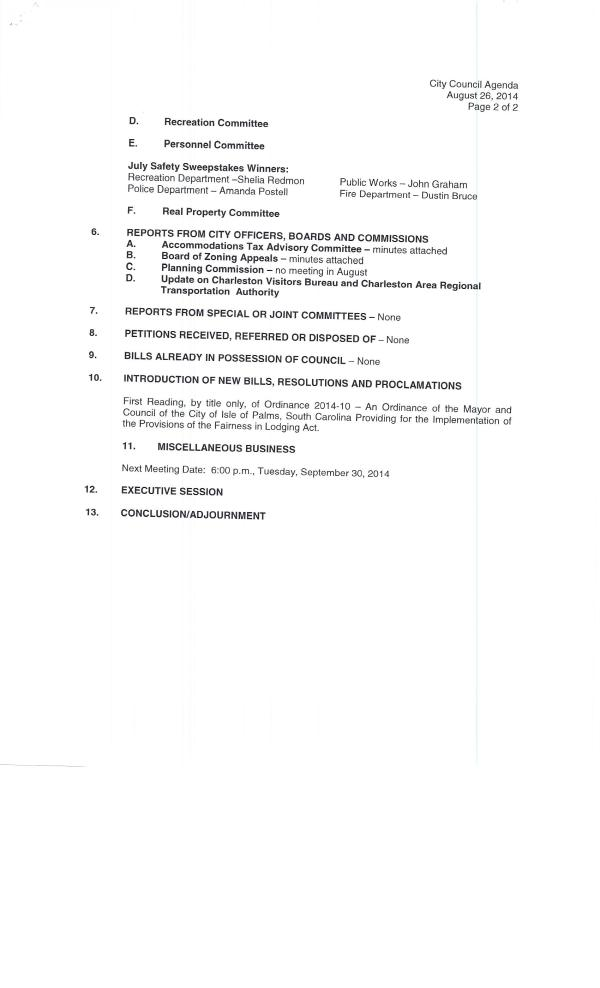 IOP council agenda 8-26-14 pg2 of 2