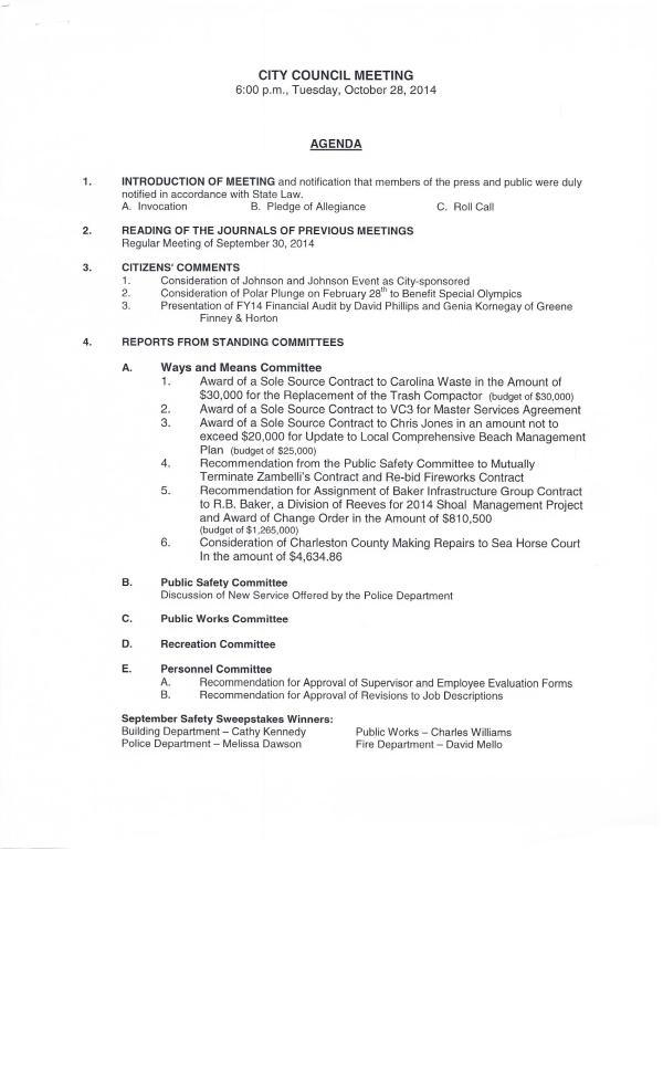 IOP council agenda Oct 28, 2014 pg1 of 2