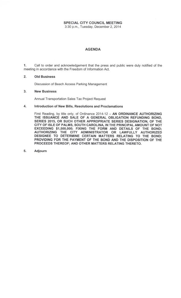 IOP Special Council meeting on parking 12-2-14