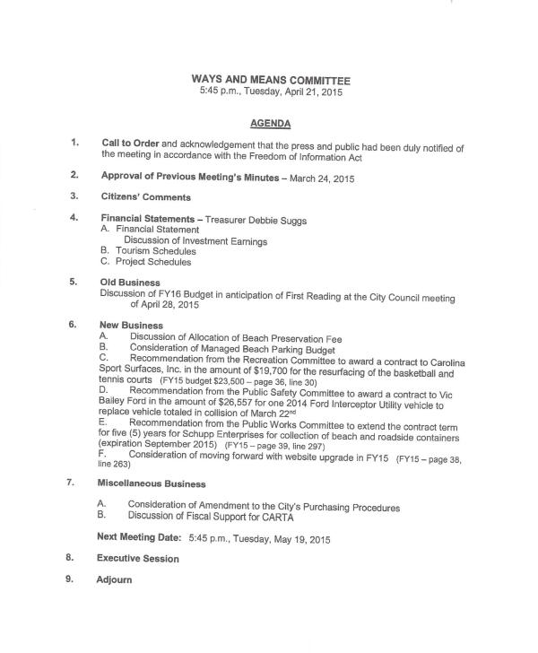 IOP Ways and Means Agenda 4-21-15