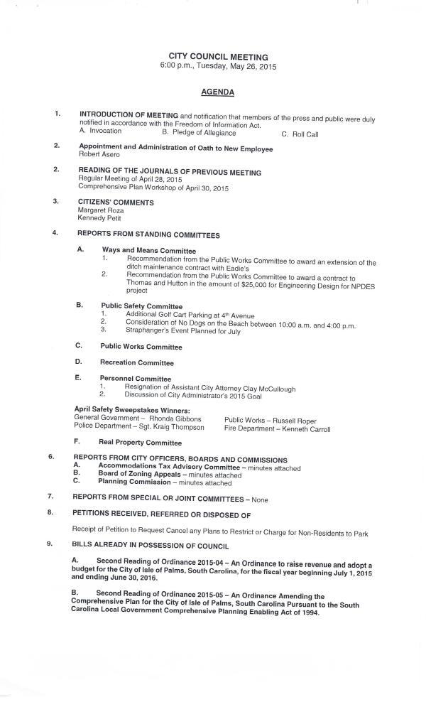 IOP city council agenda May 26, 20150001