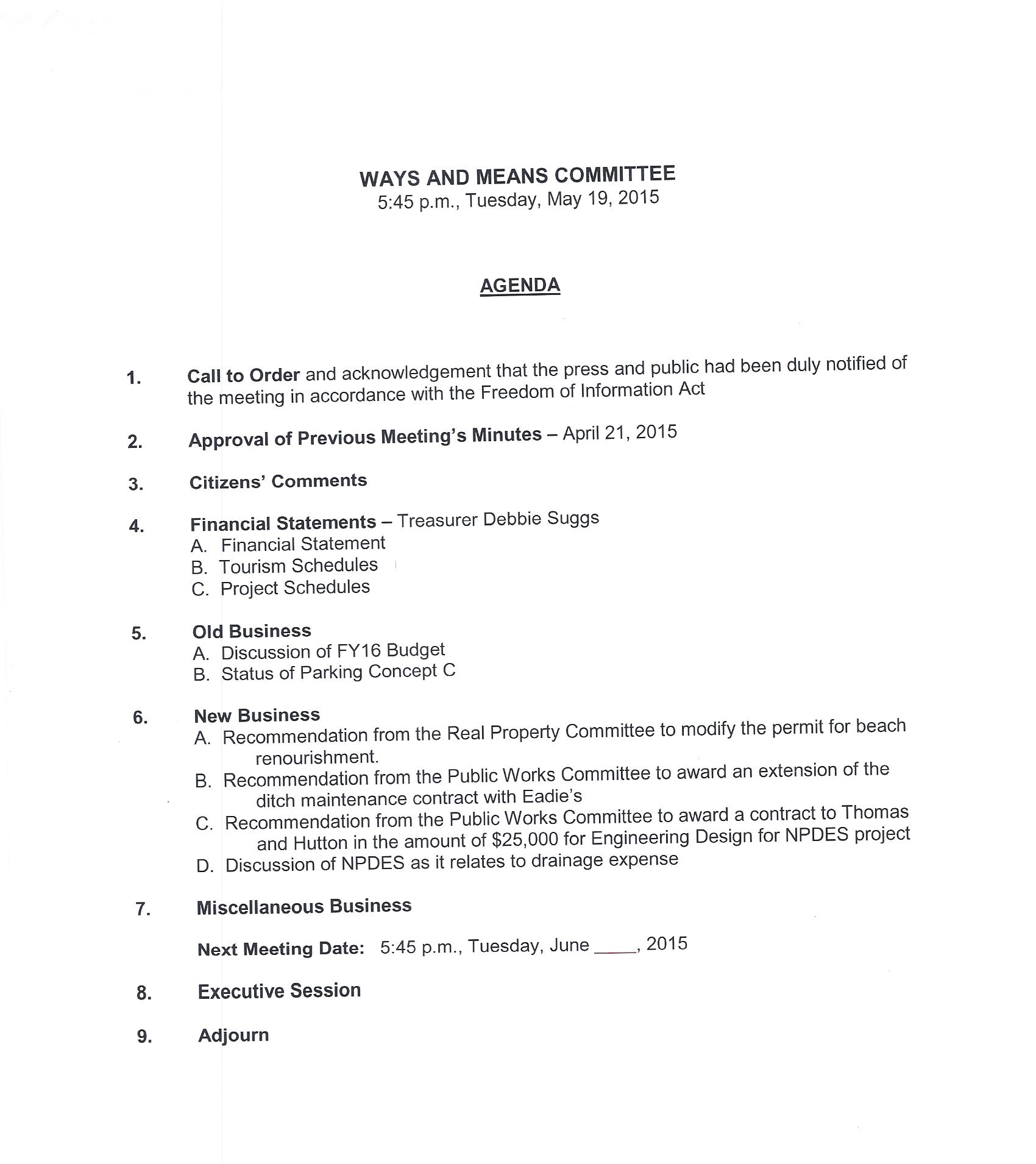 iop ways and means agenda for may 19th, 2015 | iop today - current