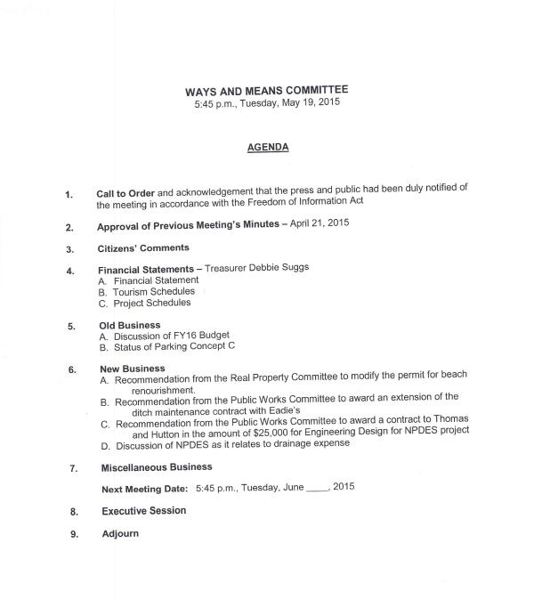 IOP Ways and Means Agenda May 19, 2015