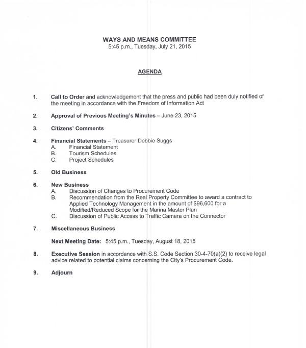 IOP Ways and Means Agenda 7-21-15