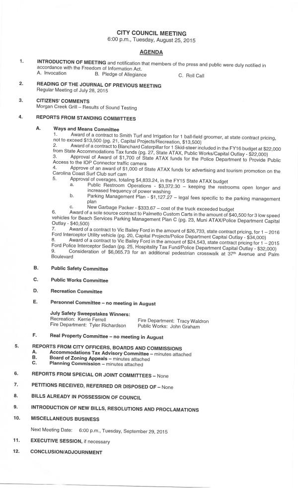 IOP city council agenda August 25 2015