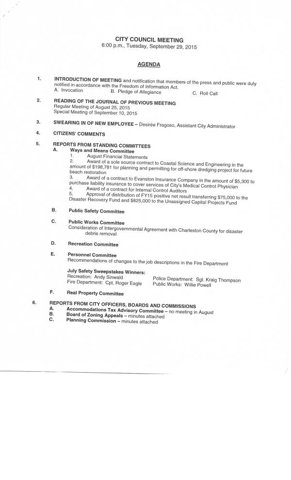 IOP council agenda pg1 Sept 29, 2015