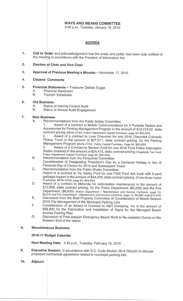 IOP Ways and Means Agenda 1-19-16