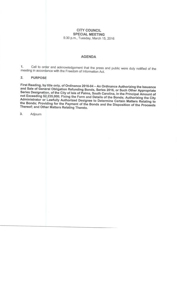 IOP Special Council on refunding bonds 3-15-16
