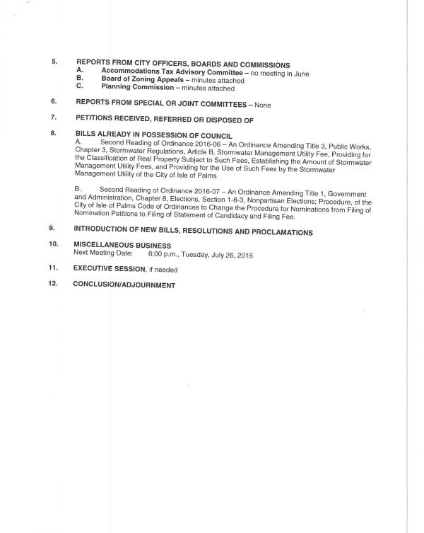 IOP city council agenda 6-28-16 pg 2 of 2
