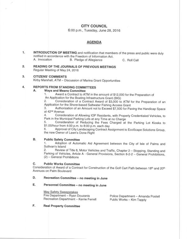 IOP city council agenda 6-28-16 pg1 of 2