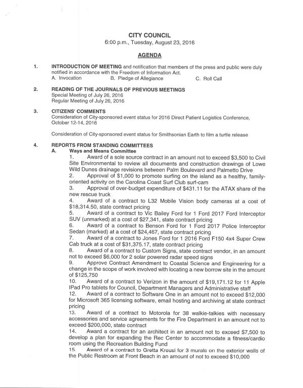 IOP City Coucil Agenda 8-23-16 pg 1 of 2
