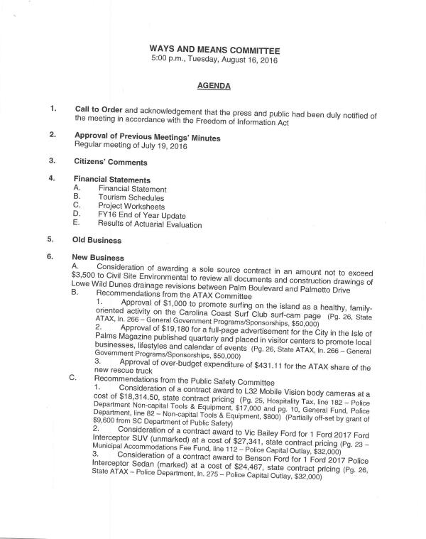 IOP Ways and Means Agenda August 16, 2016 pg 1 of 2